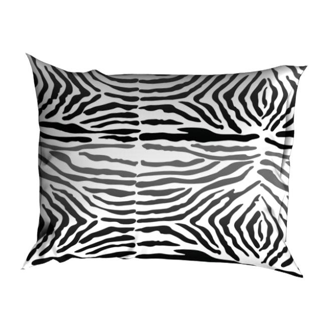 Zebra-satijn-sloop-zwart